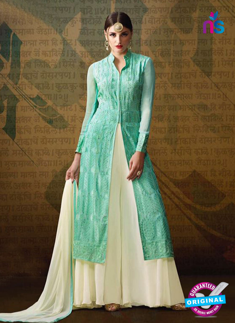 AZ 3388 Sea Green And Beige Georgette Fancy Designer Indo Western Suit