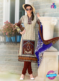 SC 12645 Beige and Brown Printed Cambric Pakistani Suit