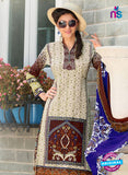 SC 12645 Beige and Brown Printed Cambric Pakistani Suit Online