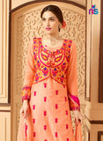 NS11329 LightOrange and Magenta Party Wear Satin Cotton Straight Suit