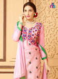 NS11330 Pink and Green Party Wear Satin Cotton Straight Suit