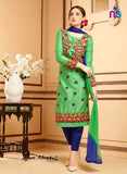 NS11331 ParrotGreen and NavyBlue Party Wear Satin Cotton Straight Suit