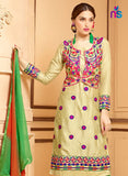 NS11332 SandyBrown and ParrotGreen Party Wear Satin Cotton Straight Suit