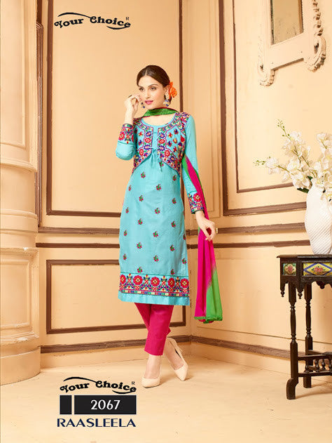 NS11333 SkyBlue and Magenta Party Wear Satin Cotton Straight Suit