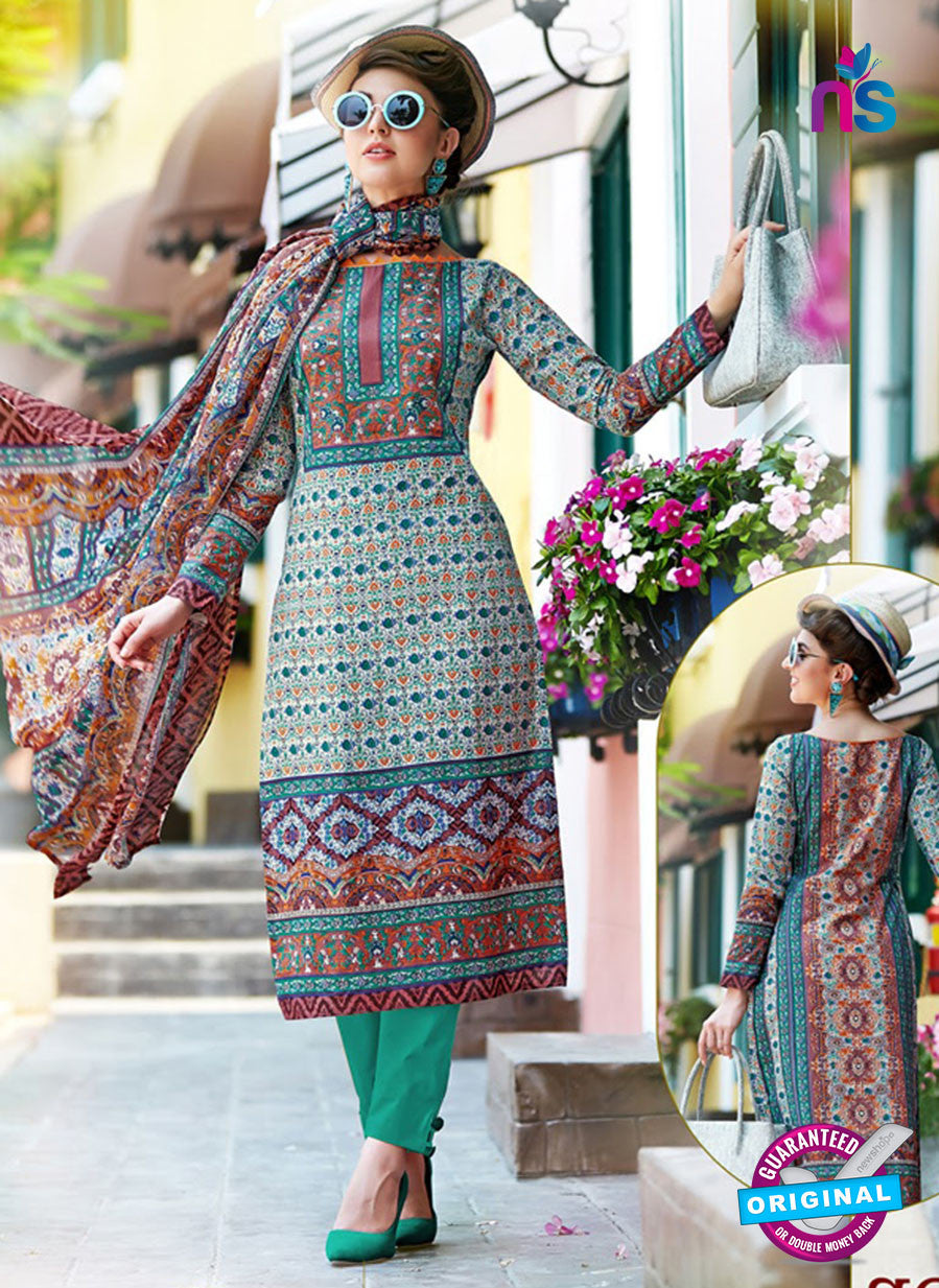 SC 12649 Multicolor and Green Printed Cambric Pakistani Suit