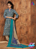Rivaa 206A Beige & Blue Color Cotton Designer Suit