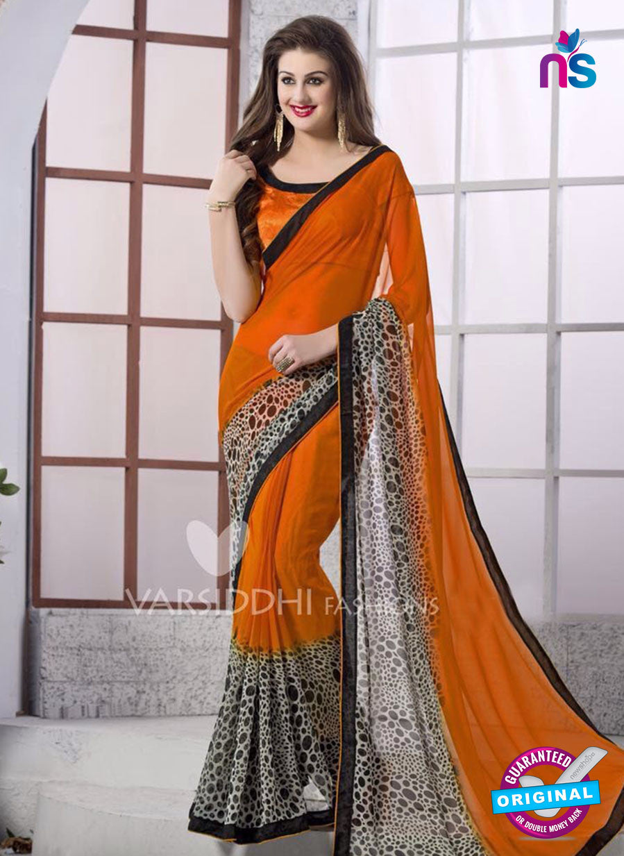 SC 13169 Orange and Black Georgette Party Wear Saree