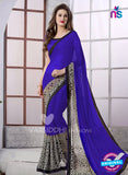 SC 13168 Blue and Black Georgette Party Wear Saree