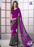 SC 13166 Purple and Black Georgette Party Wear Saree