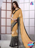 SC 13170 Beige and Black Georgette Party Wear Saree