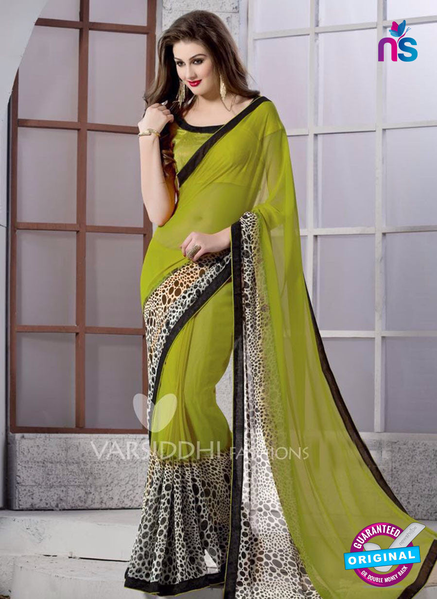SC 13167 Green and Black Georgette Party Wear Saree