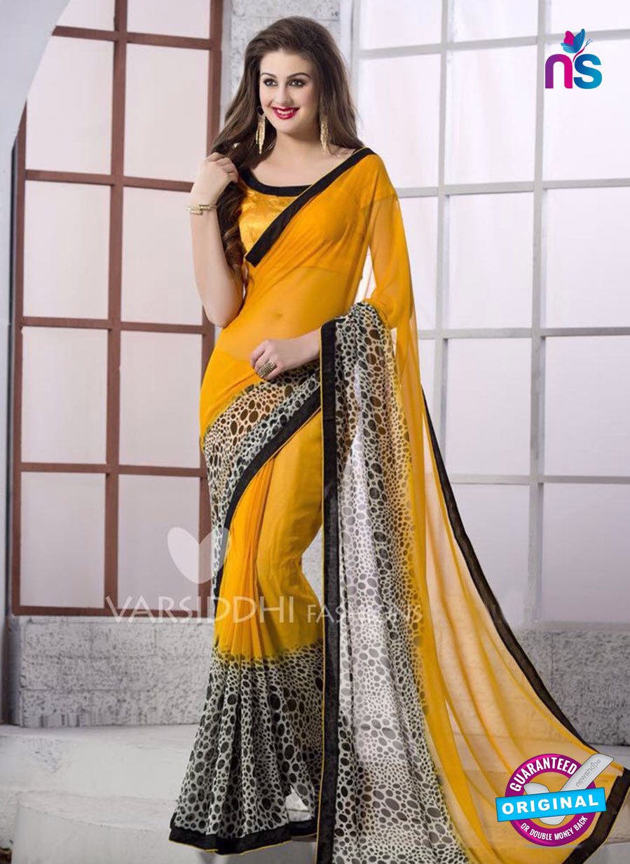 SC 13165 Yellow and Black Georgette Party Wear Saree