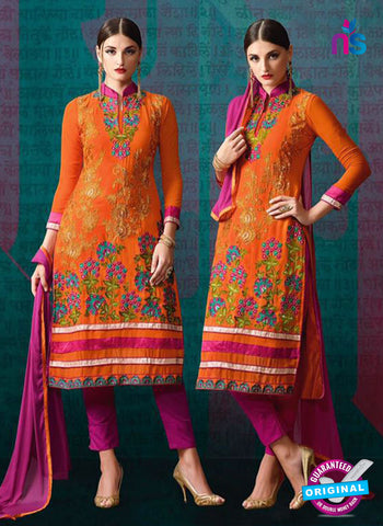 AZ 3391 Orange And Pink Georgette Fancy Designer Party Wear Suit