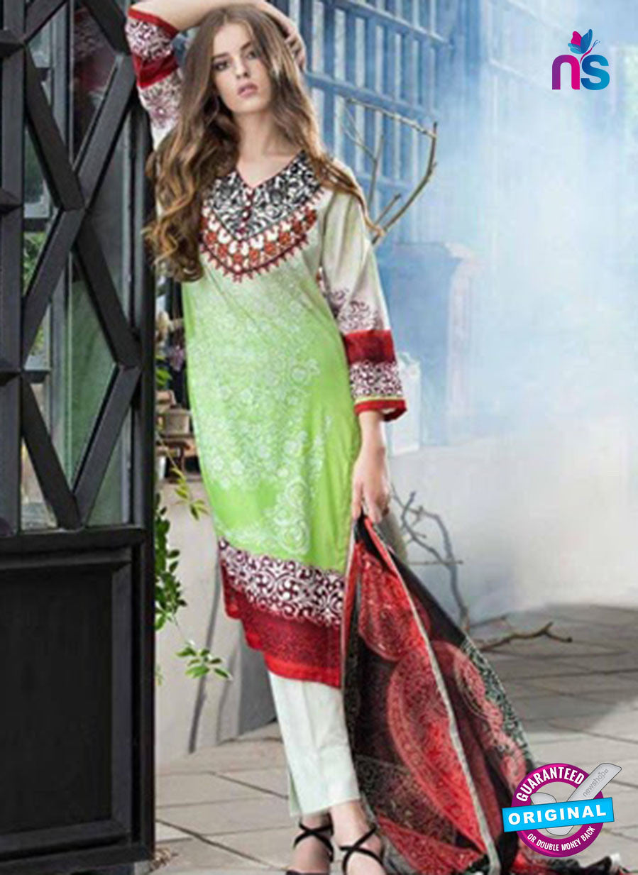 SC 12566 Green and White Embroidered Satin Cotton Pakistani Suit