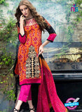 SC 12569 Orange and Magenta Embroidered Satin Cotton Pakistani Suit