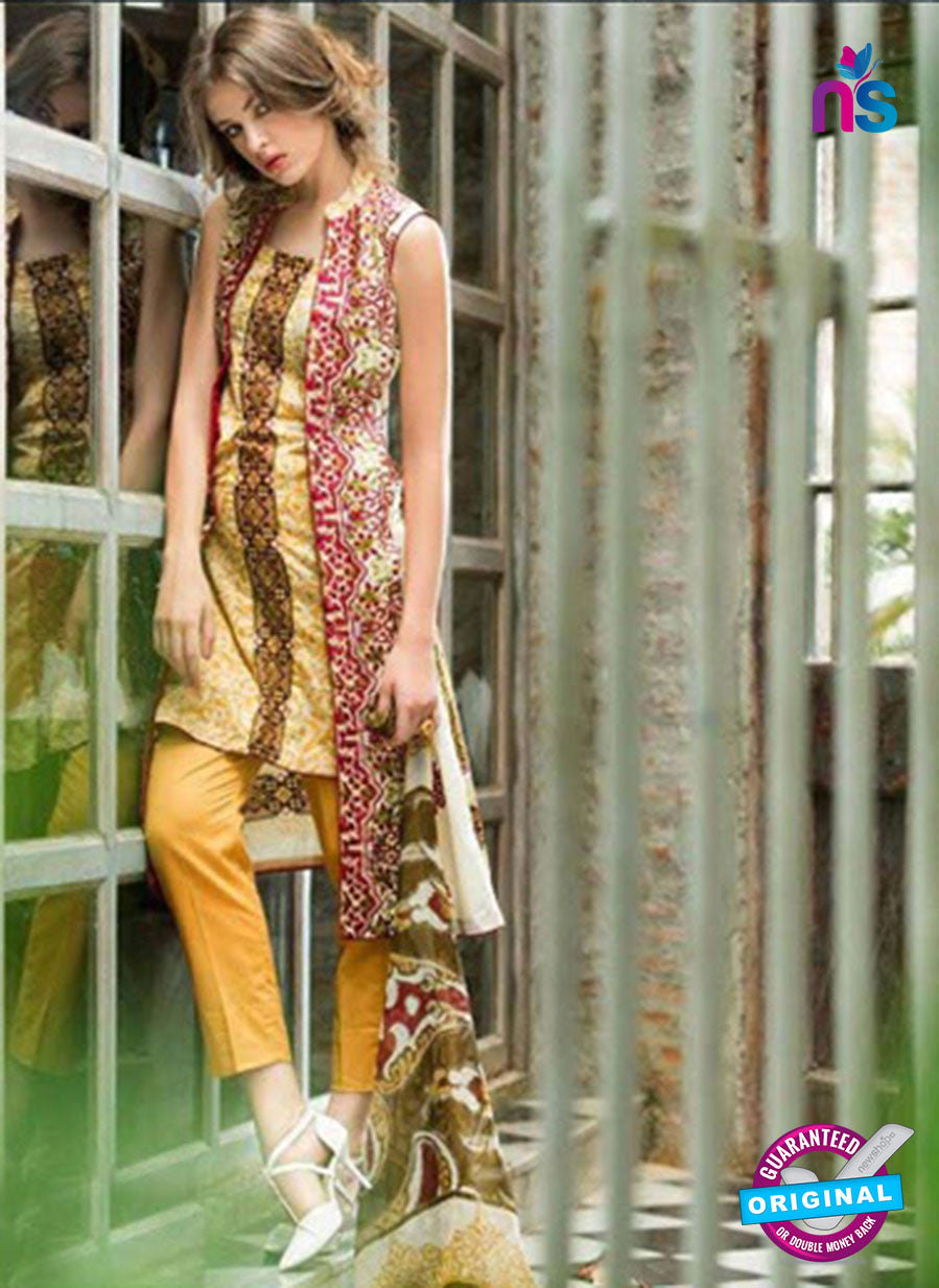 SC 12567 Multicolor and Yellow Embroidered Satin Cotton Pakistani Suit