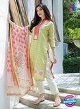 SC 12568 Green and White Embroidered Satin Cotton Pakistani Suit