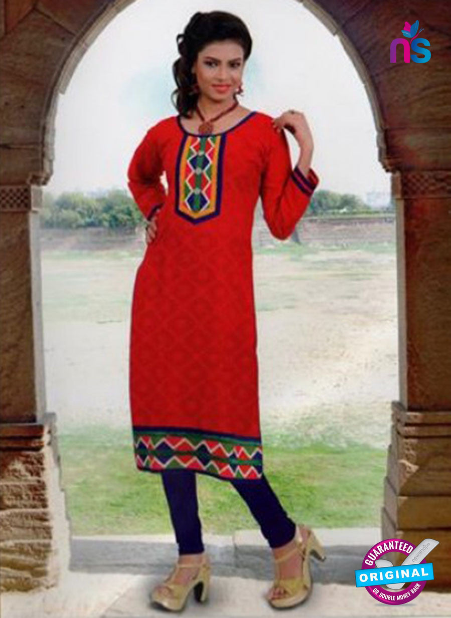 NS10143 Red and Purple Cotton Jacqard Kurti
