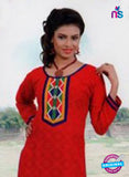 NS10143 Red and Purple Cotton Jacqard Kurti Online