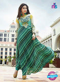 NS10878 B Cream and Sea Green Georgette Anarkali Suit