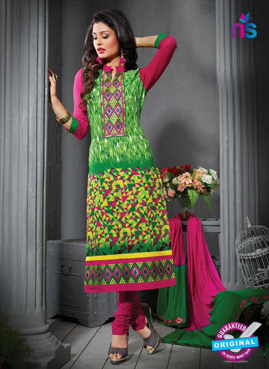 NS12211 Green and Pink Straight Suit