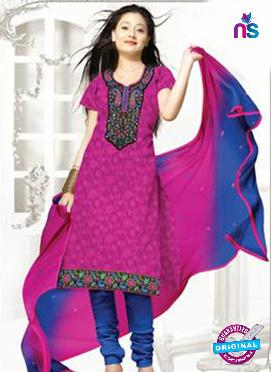 NS12258 Pink and Blue Chudidar Suit