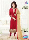 Fiona 21001 Red and Golden Embroidered Georgette Party Wear Straight Suit