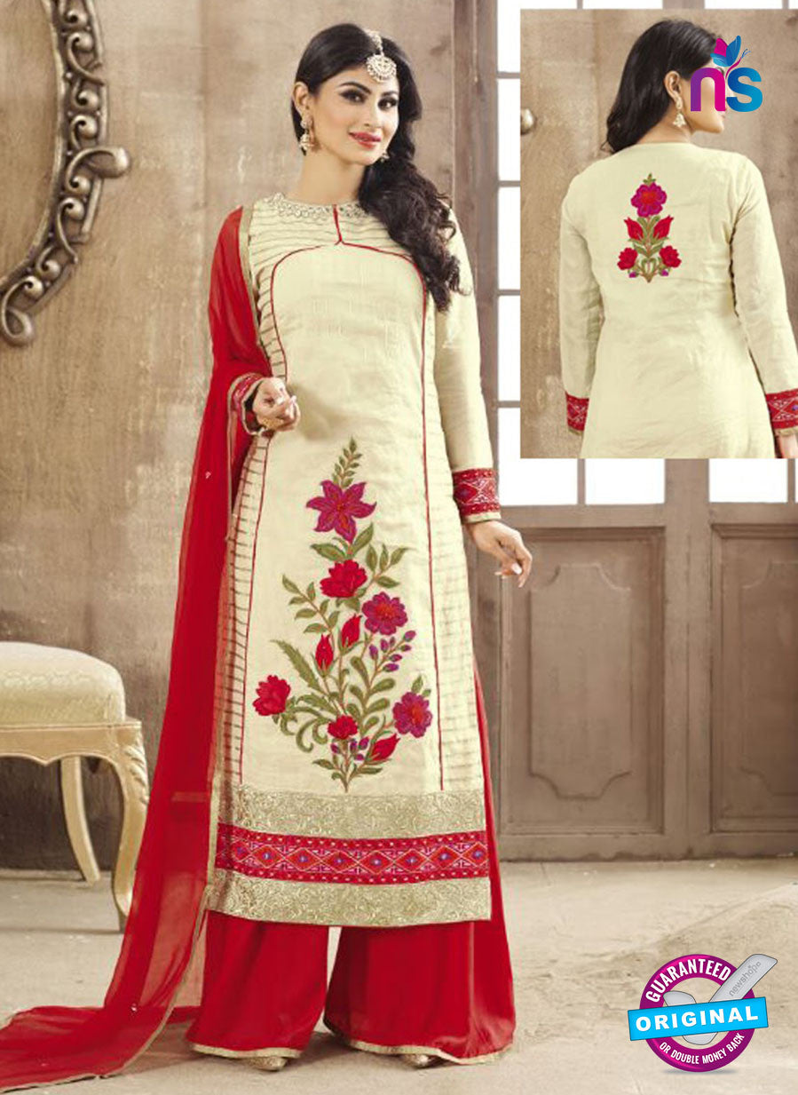 SC 12262 Beige and Red Embroidered Pure Lawn Cotton Suit