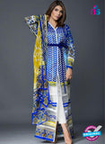 SC 13811 Blue Designer Fancy Traditional Cotton Satin Suit