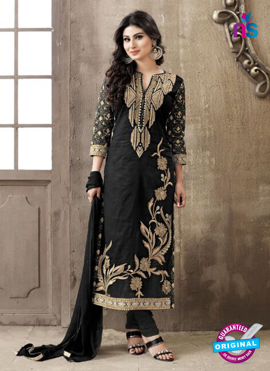 SC 12265 Black and Golden Embroidered Pure Lawn Cotton Suit