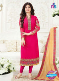 Fiona 21003 Pink and Golden Embroidered Georgette Party Wear Straight Suit