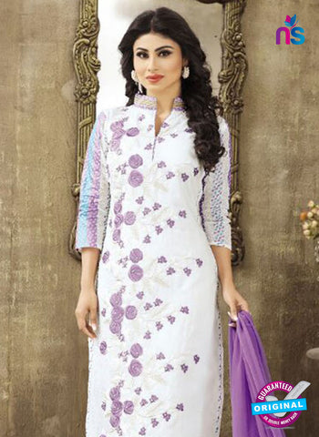 SC 12263 White and Purple Embroidered Pure Lawn Cotton Suit