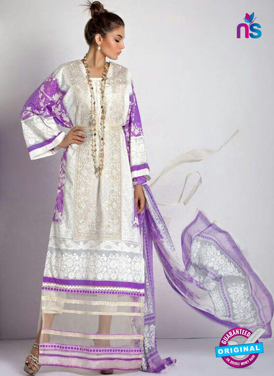 SC 13807 White and Purple Designer Fancy Traditional Cotton Satin Suit