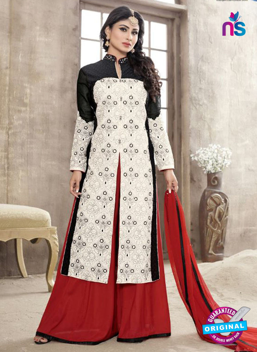 SC 12260 Black, White and Maroon Embroidered Pure Lawn Cotton Suit
