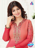 Fiona 21006 Red and Pink Embroidered Georgette Party Wear Straight Suit