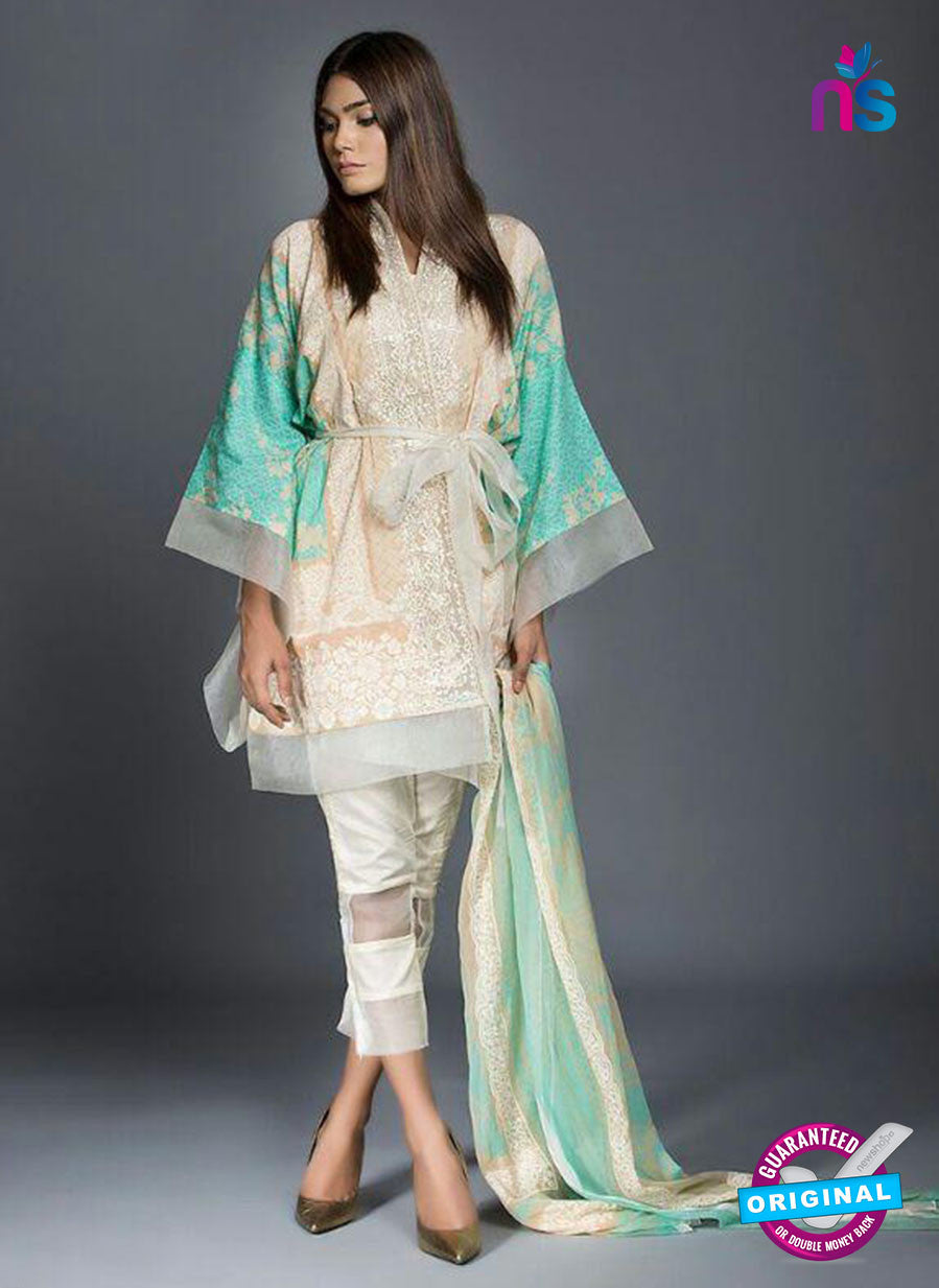 SC  13809 Beige Designer Fancy Traditional Cotton Satin Suit
