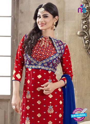 SC 12264 Red and Blue Embroidered Pure Lawn Cotton Suit