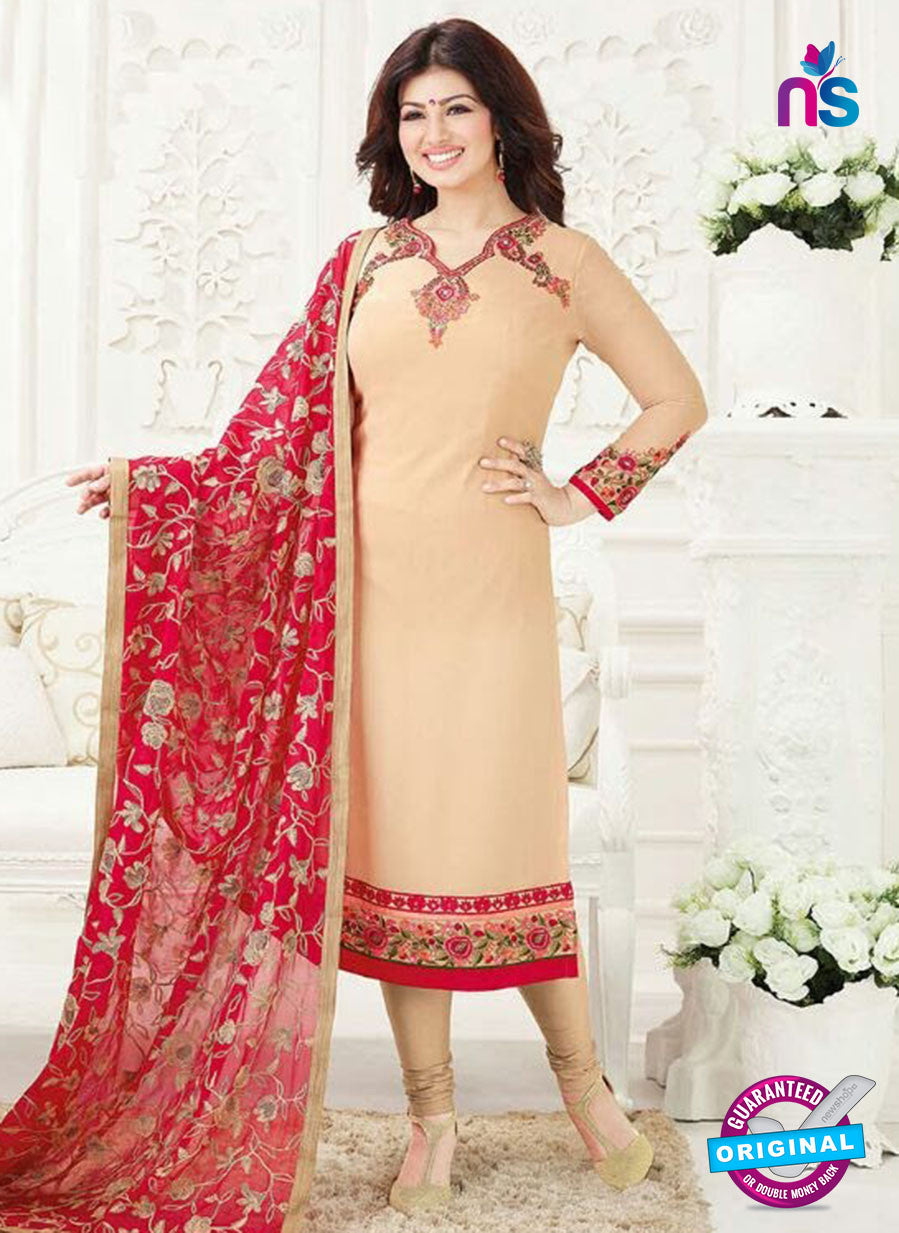 Fiona 21008 Beige and Red Embroidered Georgette Party Wear Straight Suit