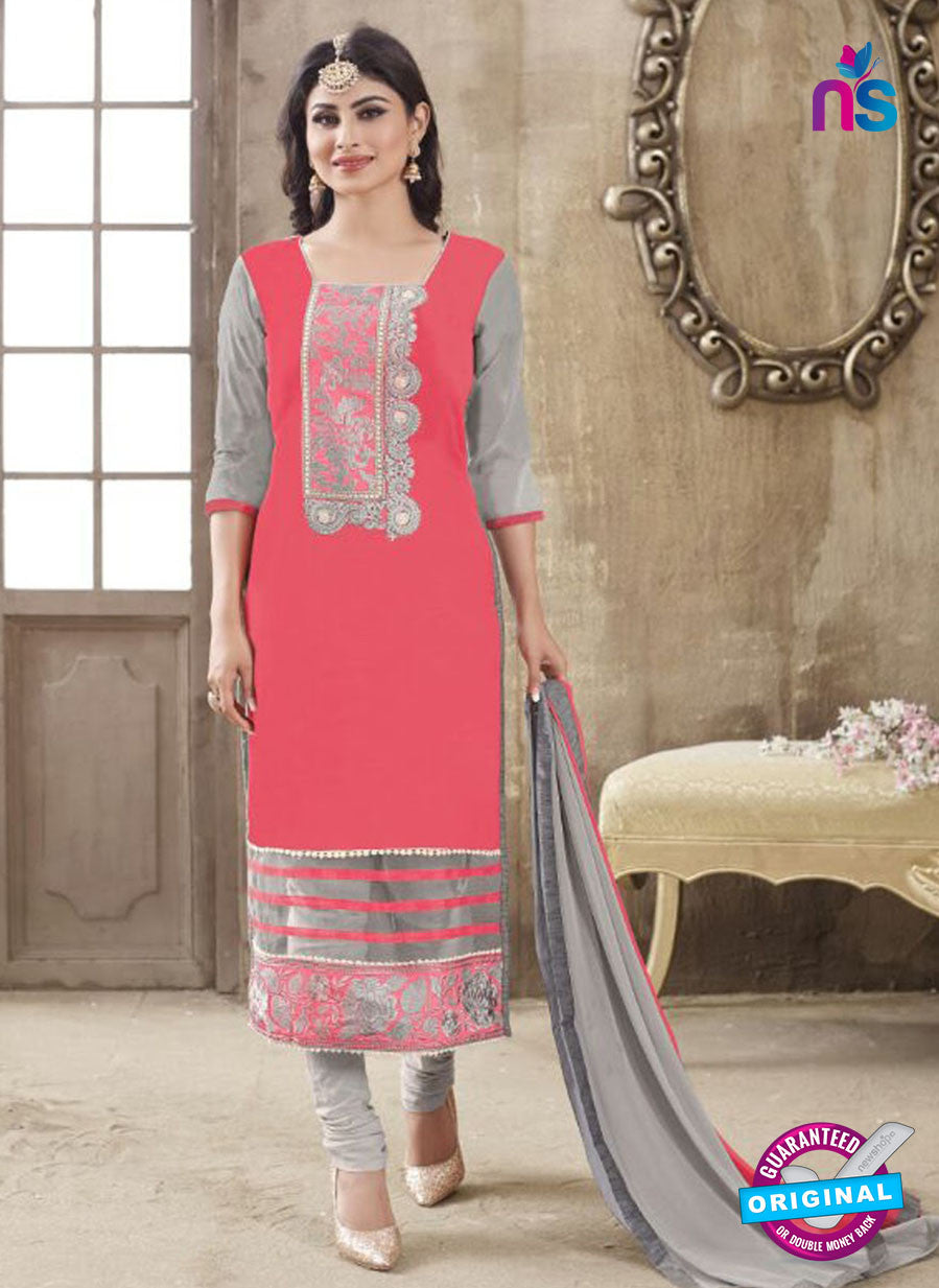 SC 12261 Pink and Grey Embroidered Pure Lawn Cotton Suit