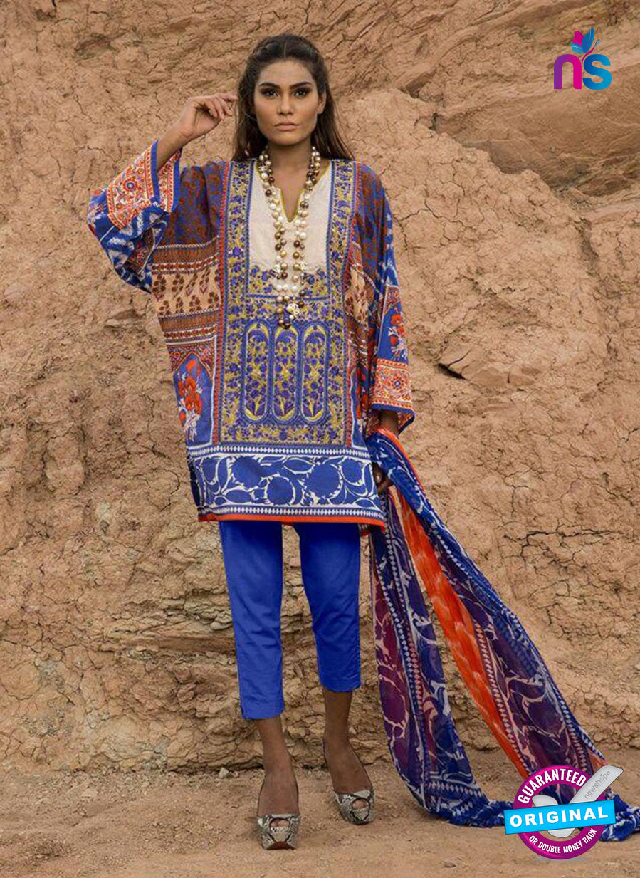 SC 13806 Multicolor and Blue Designer Fancy Traditional Cotton Satin Suit