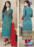 SC 12268 Sky Blue and Red Embroidered Pure Lawn Cotton Suit