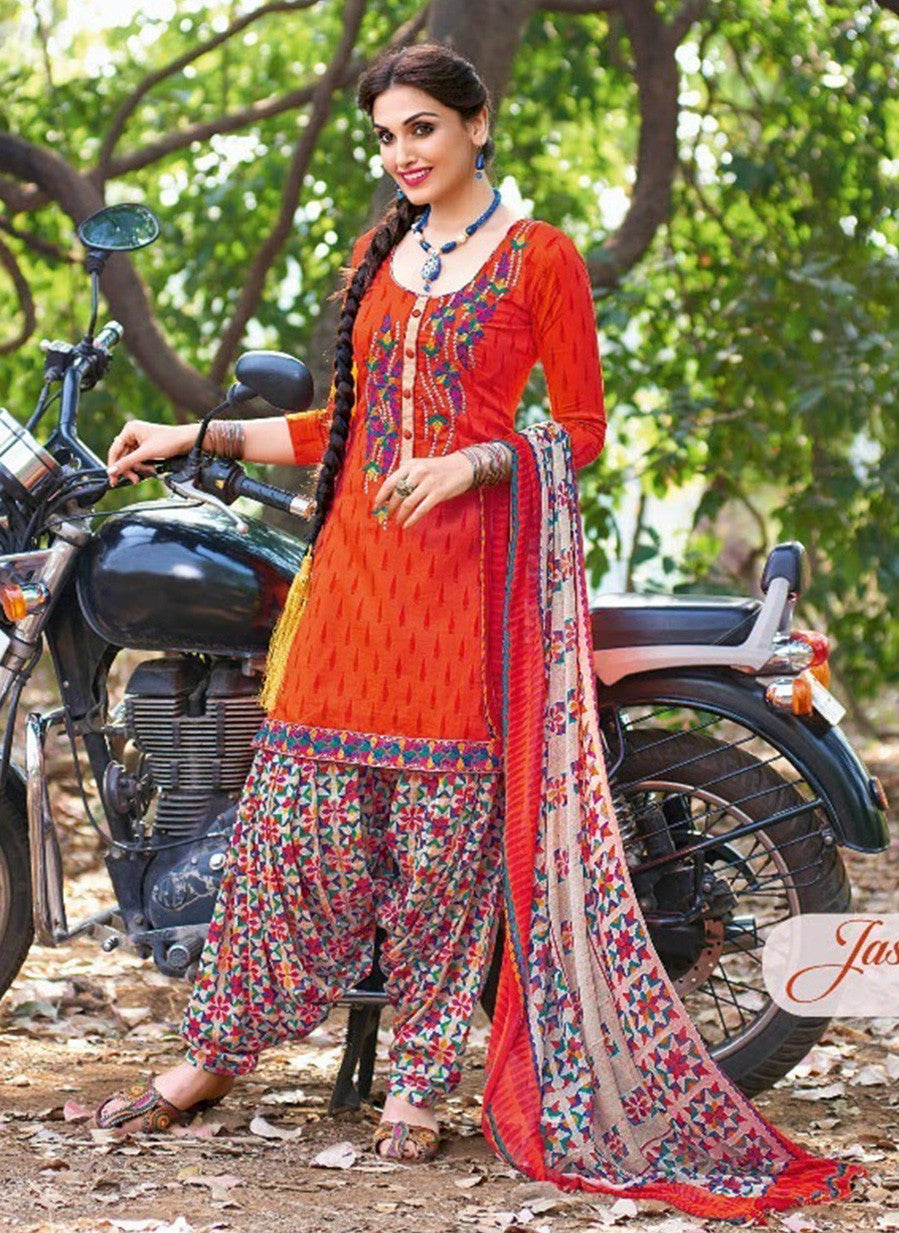 Kalakirti 2101 Orange Color Glace Cotton Designer Suit