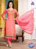SC 12738 Pink Embroidered Brasso Straight Suit
