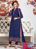 SC 12366 Blue and Pink Georgette with Schiffli Work Party Wear Straight Suit