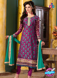 SC 12737 Purple and Blue Embroidered Brasso Straight Suit