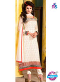 SC 12735 Beige and Red Embroidered Brasso Straight Suit