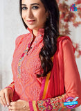 SC 12365 Peach and Multicolor Georgette with Schiffli Work Party Wear Straight Suit