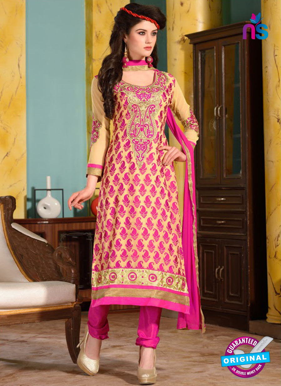 SC 12742 Beige and Pink Embroidered Brasso Straight Suit