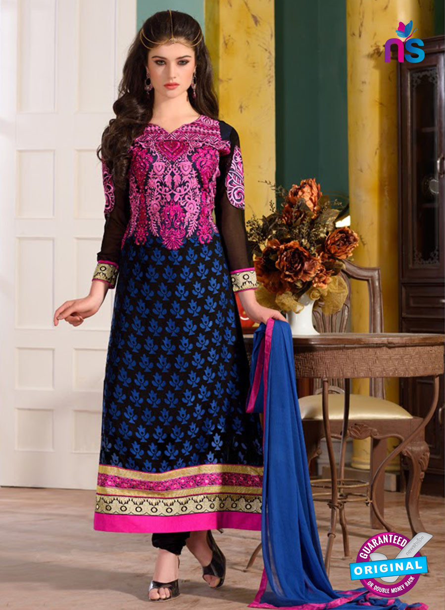 12741 Black, Pink and Blue Embroidered Brasso Straight Suit