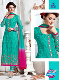 SC 12364 SeaGreen and Magenta Georgette with Schiffli Work Party Wear Straight Suit